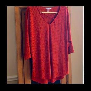Peter Nygard rust/red/orange colored top